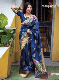 Manjubaa Lotus Series Traditional Indian Women Festive Fashion Formal Party Wear Saree Designer Attractive Look Occasionally Sari Collection Single Pieces Wholesale Supplier from surat - Full Catalog Price - INR Indian Designer Sarees, Latest Designer Sarees, Indian Sarees, Bengali Saree, Navy Blue Saree, Blue Silk Saree, Banarasi Sarees, Silk Sarees, Net Saree