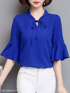 Buy Tie Collar Plain Bell Sleeve Blouse online with cheap p Cheap Blouses, Shirt Blouses, Blouses For Women, Trendy Dresses, Plus Size Dresses, Fashion Dresses, Fashion Blouses, Affordable Dresses, Bell Sleeve Blouse