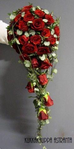 Tummanpunaista ruusua tiukasti pisarana