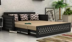 wooden sofa designs with storage wooden sofa come bed design sofa cum bed king size black finish 2 wooden sofa come wooden sofa designs with storage Sofa Bed Design, Wooden Sofa Set Designs, Sofa Cumbed Design, Luxurious Bedrooms, Sofa Design, Contemporary Bedroom Design, Bed Design, Wooden Sofa Designs, Buy Sofa