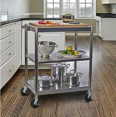 Rolling Stainless Steel Kitchen Island Shelves Storage Bamboo Top ...