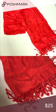 👠Red pashmina Barely worn red pashmina Accessories Scarves & Wraps