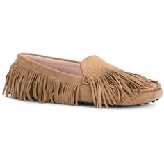 Tod's Gommino Mocassins in Suede ($645) ❤ liked on Polyvore featuring shoes, loafers, beige, suede shoes, suede fringe shoes, fringe moccasins, tods shoes and mocassin shoes