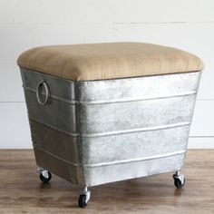 Storage Stool With Fabric Top