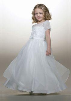 Princess Scoop neck Floor-length Organza Flower Girl Dress