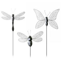Large Metal Wire Insect On A Stake Garden Ornament   Three Designs  Available Garden Ornaments U0026