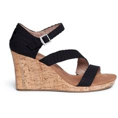 Toms 'Clarissa' cork wedge sandals ($70) ❤ liked on Polyvore featuring shoes, sandals, black, black strap shoes, strappy sandals, tall sandals, cork wedge sandals and strap shoes