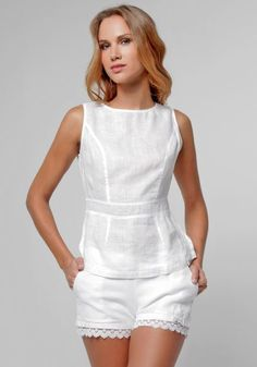 Linen Avant Cut & Sew Tank in White Casual Chic, Casual Wear, Summer Outfits, Cute Outfits, Diy Vetement, Blouse Online, Linen Dresses, Fashion Outfits, Womens Fashion