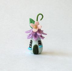 Miniature Whimsical Blossom Fairy House - Lavender - OOAK by C. Rohal