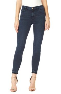 Free shipping and returns on Sanctuary Robbie High Rise Frayed Hem Skinny Jeans (Crown Blue) at Nordstrom.com. Released and frayed hems keep the look on trend for go-to skinny jeans in a higher-rise cut for a lean, leggy look.