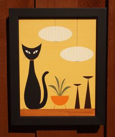 Mid Century Modern 11 X 14 Original Acrylic Cat by donnamibus, $50.00