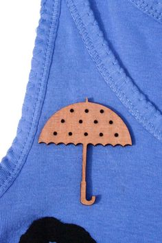 It's Raining Umbrella Laser Cut Wooden Brooch