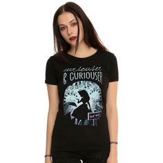 Disney Alice In Wonderland Forest Girls T-Shirt ($18) ❤ liked on Polyvore featuring tops, t-shirts, destruction t shirt, v neck tee, distressed tee, disney and distressed t shirt