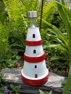 Mini Lighthouses from clay pots!