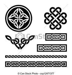 celtique, nœuds, tresses, Motifs, - - csp12471377