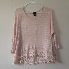 Rue 21 Pink Sheer Striped Lace Top (Size M) Size medium. Oversized. Rayon&Spandex. Scoop Neck. Sheer & Striped. Baby Pink. Quarter sleeves. Rue 21 Tops Blouses