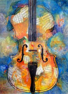 love the colors of this piece. #violin art