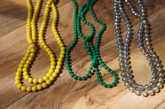 Estate Vintage Jewelry Necklace Set  Beaded Pearl Yellow Green Silver Sparkly White  Long Ball  X-039 by VintageEstate86 on Etsy