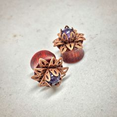 Bloodwood Lotus Flower Plugs with Amethyst Stone for Stretched Ears Sizes 00g(10mm) through 9/16 inch (14mm) Wooden Plug Gauges/