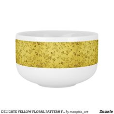 DELICATE YELLOW FLORAL PATTERN FOR SOUP MUG