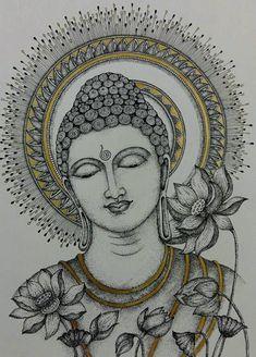 By Swagatika Mohanty Buddha Drawing, Doodle Art Drawing, Buddha Painting, Buddha Art, Mandala Drawing, Madhubani Art, Madhubani Painting, Kalamkari Painting, Mandala Art Lesson