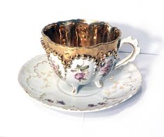 Antique Moriage Footed Tea Cup and Saucer Set Gold by