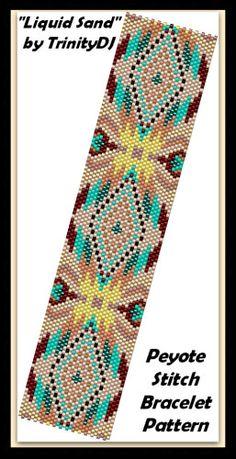 BP-PEY-078 - 2015-113 - Liquid Sand - Peyote Stitch Bracelet PATTERN, seed bead jewelry, beadweaving tutorial,beaded bracelet, beadwork