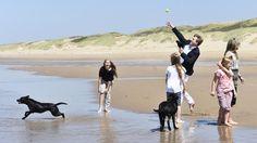 Barfuß im Sand: Die Königsfamilie tobt mit den Hunden am Strand von Wassenaar.
