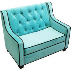 Newco Kids Tween Grand Sofa, Aqua/Chocolate