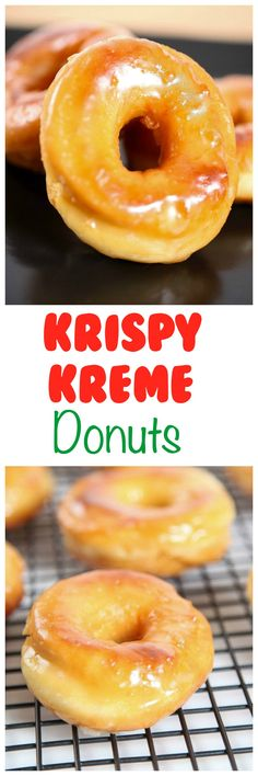 Krispy Kreme Donut Recipe: Light and fluffy donuts topped with a rich glaze that will melt in your mouth. Enjoy Krispy Kreme for a fraction of the cost with this spot on recipe. (krispy kreme near me) Köstliche Desserts, Delicious Desserts, Dessert Recipes, Yummy Food, Krispy Kreme Donut Recipe, Donut Recipes, Cooking Recipes, Biscuits, Zeina