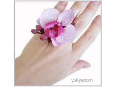 "Inel ""Tokyo vis"" Pasta Flexible, Polymer Clay, Pottery, Brooch, Rings, Flowers, Tokyo, Jewelry, Wedding Ideas"