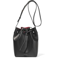 Mansur Gavriel Mini leather bucket bag ($545) ❤ liked on Polyvore featuring bags, handbags, shoulder bags, red shoulder bag, genuine leather handbags, red handbags, leather bucket bags and genuine leather shoulder bag