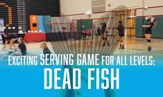 "Have you heard of the drill ""Dead Fish""? 🐟 This fast-paced serving game gets players moving and is high-rep. Coaches, to get your players feeling excited and competitive at the start of practice—try using Dead Fish as a warm-up!"