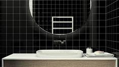 Сочетание черного и белого, а также прямых углов деталей интерьера придадут элегантный вид ванной комнате.