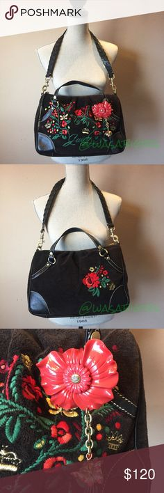 """Beautiful Embroidered Juicy Couture Bag. I always received SO many compliments on this bag. I almost can't part with it. Terry cloth and leather. Roomy bag measures about 14""""l x 10""""h x 3""""w. Zippered pocket and side pockets inside. Leather braided strap has a chew mark from a puppy. Price adjust accordingly. 🚫No Trades. Price Firm. Juicy Couture Bags Shoulder Bags"""