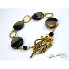 Black Gold bracelet black coin bracelet statement jewelry chunky... ($26) via Polyvore featuring jewelry, bracelets, coin jewelry, gold bangles, bohemian jewelry, coin jewellery and gold jewellery