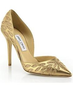 55d2c861c67 Jimmy Choo Jimmy Choo Daysha Glittered-Pattern Metallic Leather Pumps - Gold  from Saks Fifth