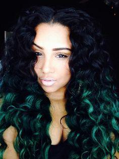 Green Ombre Curls