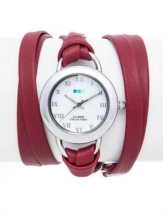 54ff95a96e7f1 La Mer Collections Burgundy Silver Saturn Wrap Watch