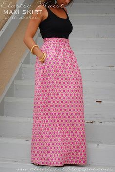 A Small Snippet: Elastic Waist Skirt...also used for maxi skirt with ruffles at bottom. Use jersey knit :(