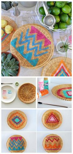 Painted Wicker Charger Plates | DIY BBQ paper plate wicker chargers | Patio decor | DIY Crafts | Delineate Your Dwelling for TodaysCreativeLife.com