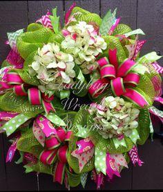 Lime Green & Pink Hydrangeas Deco Mesh Wreath