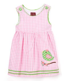 Look what I found on #zulily! Pink Gingham Bird A-Line Dress - Infant, Toddler & Girls by Lil Cactus #zulilyfinds