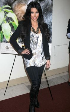 Kim Kardashian wearing LnA Olivia Knit Ruched Leggings Bebe Sleek Double Stitched Blazer Alexander McQueen Over-the-Knee Platform Boots Minkpink Animal Instinct tee. Kim Kardashian Celebrity Skee Ball Tournament June 9 2010.