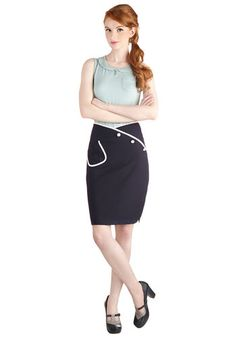 Sailor Swift Skirt - Mid-length, Blue, Solid, Buttons, Pockets, Work, Pinup, Vintage Inspired, Pencil, Nautical, 60s, Blue