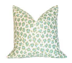 Conga Line Moss & Aqua  17x17 Designer Pillow by AriannaBelle, $108.00