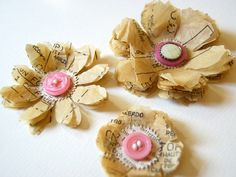 Sew Pretty flower embellishments by ScrappingArt on Etsy