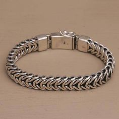 Mystery Links Men's Bracelet Crafted of Sterling Silver from Bali Mens Silver Jewelry, Silver Bangles, Mens Silver Bracelets, Sterling Silver Bracelets, Link Bracelets, Bracelets For Men, Sterling Silver Pendants, Gold Jewellery, Diamond Jewelry