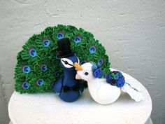 RESERVED Custom Peacock Love Keepsake Wedding Cake by theaircastle, $235.00
