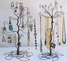 Wire Tree Stand Jewelry Display Holder set Earring Necklace PRE ORDER. $72.00, via Etsy.